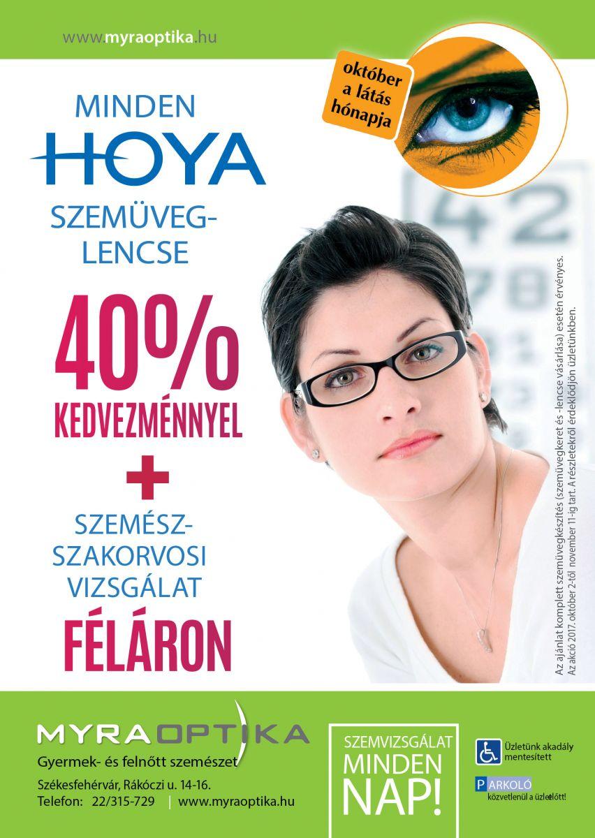 HOYA szemüveglencse 40% kedvezménnyel + szemész-szakorvosi vizsgálat féláron 559f8fc756